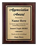 Appreciation Plaque 8x10 - Personalized Award, Customize Now!