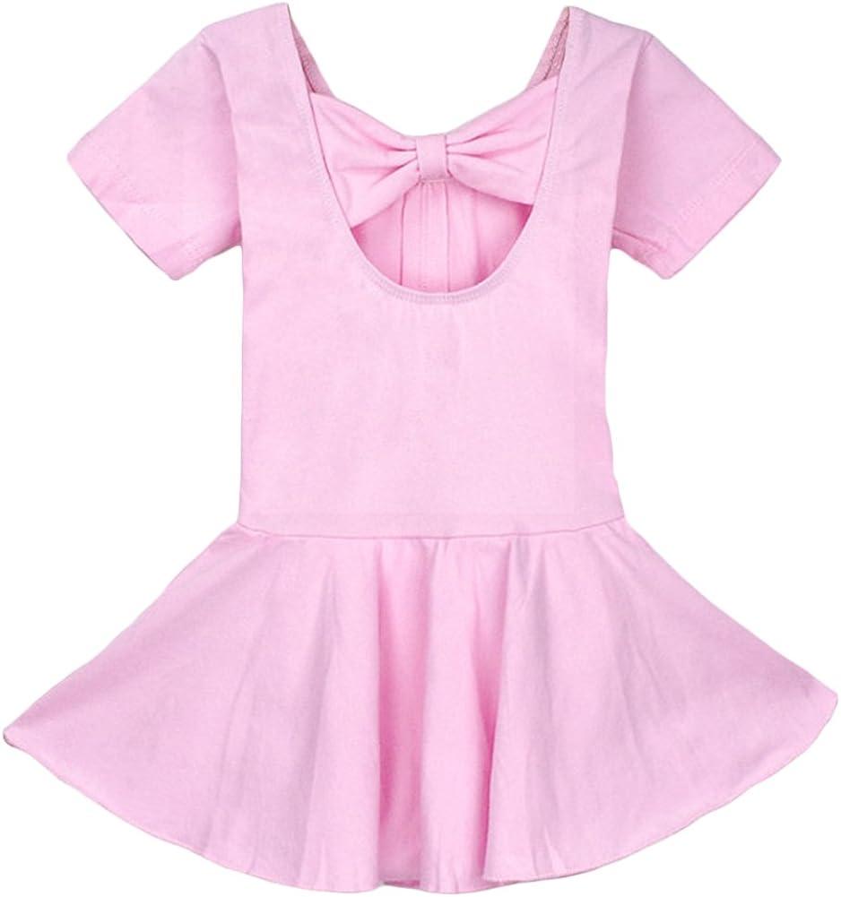 Aulase Girls Basic Cotton Short Sleeve Ballet Gymnastics Leotard Dress with Bow
