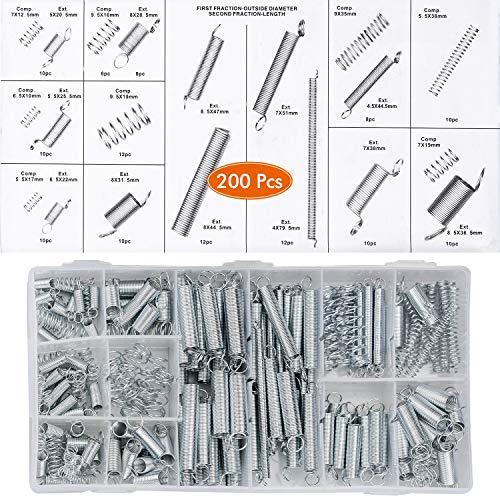 Druckfeder Zugfeder 200 Stück Spiralfeder Stahlfeder mit Haken Verzinkte Feder Set Feder Sortiment Diverse Größen vorsortiert in praktischer Kunststoffbox
