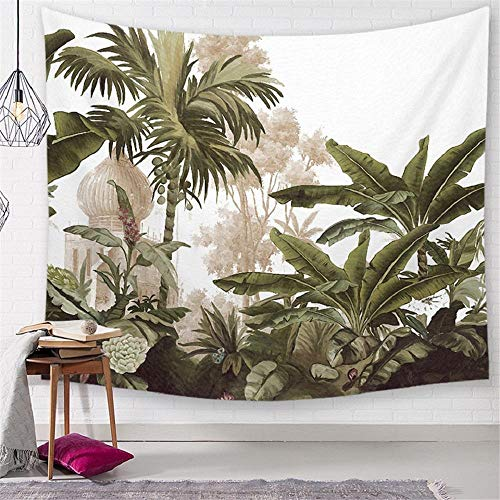 Green Leaves Tropical Tree Tapestry Wall Fabric Nature Palm Tree Landscape Cactus Picture Wall Cloth Tapestries Tablecloth Beach 150x200cm