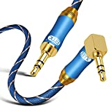 90 Degree Right Angle Aux Cable - [24K Gold-Plated,Sound Quality]EMK Audio Stereo Male to Male Cable for Laptop, Tablets, MP3 Players,Car/Home Aux Stereo, Speaker or More (8Ft/2.4Meters)