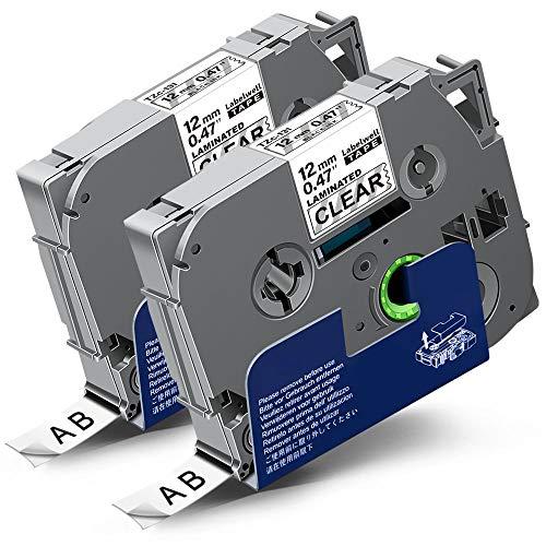 2x Labelwell 0.47 12mm x 8m Schriftband Ersatz für Brother Tzc Tze-131 Tze131 Tz-131 Schwarz auf Transparent für Brother PT-1000 PT-1010 PT-D600VP PT-H105 PT-H110 PT-P750W PT-P900W PT-P700