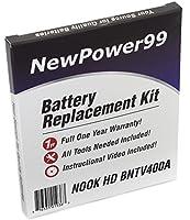 """バッテリー交換キットfor the Barnes and Noble Nook HD 7"""" bntv400aタブレットでインストールビデオ、ツール、Extended Life Battery"""