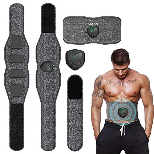ANLAN EMS Electroestimulador Muscular Abdominales, Masajeador Eléctrico Cinturón con USB, Estimulación Muscular Electroestimulador Abdominal Maquina