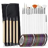 Lot de 40 kits de manucure – Pinceaux pour nail art design de peinture et de pointillement – Ensemble de 15 pinceaux + 5 stylos à pois + 20 rouleaux de ruban adhésif pour nail art