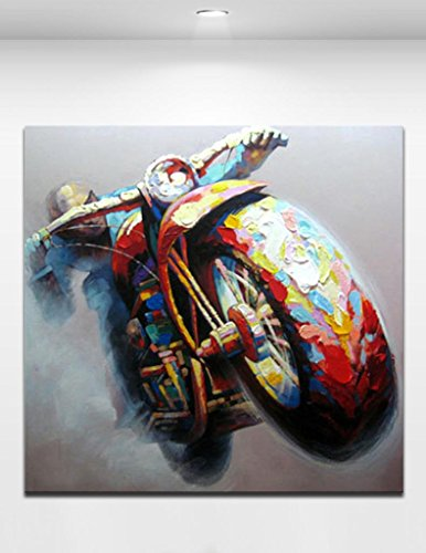Handpainted Cool Motorcycle - Morden Colorful Abstract Oil Painting On Canvas For Home Decoration Wall Art Size 2424