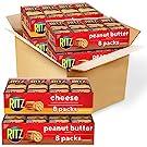 RITZ Peanut Butter Sandwich Cracker Snacks and Cheese Sandwich Crackers, Snack Crackers Variety Pack, 32 Snack Packs