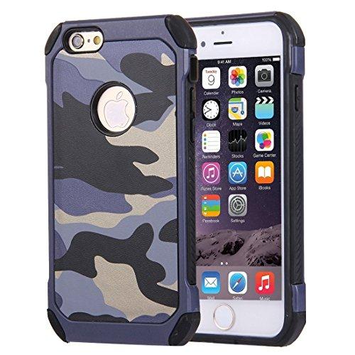 Funda de silicona suave Patrones de camuflaje Diseñado para iPhone 6 Plus y 6s Plus Tough Armor PC resistente a los golpes + Funda combinada de silicona (Color: Azul oscuro)