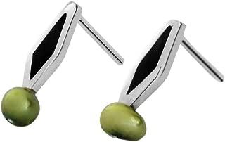 Martha Vargas: Colección Olivos 1 - Aretes de plata ley .925 mini con madera y perla