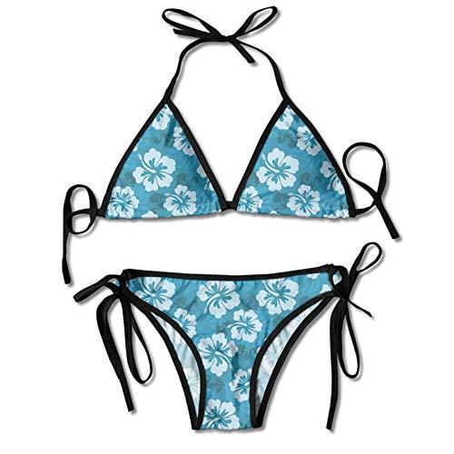 Traje de baño halter para mujer estampado de dos piezas bikini sexy traje de baño, diseño abstracto dibujado a mano con corazones estilizados incorporado en la fruta de granada