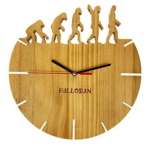 Handgefertigte Wanduhr aus Kiefernholz - Quarz & Massivholz Silent Non-Ticking Noiseless für Wohnzimmer Home Office School - 10 Zoll - Baseball (Human Pattern)