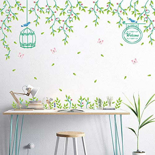 Qingmo Romántica flor vid jaula de pájaro DIY decoración de la pared mural pintura decorativa 3D decoración del hogar creativa pegatinas de pared dormitorio decoración para el diseño de moda DIY pared