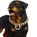'N/A' Collar De Perro Grande De 19 Mm Resistente Stianless Acero Dorado Perro Grande Choke Training Collar De Diseñador Collar De Cadena Strongdog(Size:12inch,Color:Oro)