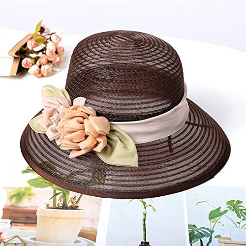 XQLSRJ Fascinante Sombrero De Sol De Redes De Velo UPF 50+ Señoras Kentucky Derby Sombreros Ancho Alza Sombrero De Paja Mujeres Verano Playa Cap Fedoras Vestido Sombrero (Color : Coffee, Size : M)