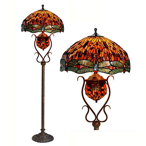 WJIE Lámpara de Mesa Tiffany de 18 Pulgadas/Europea/Retro/Vertical/lámpara de Mesa para Dormitorio/Restaurante/Restaurante/salón/Sala de exposición/Pasillo/balcón/despacho