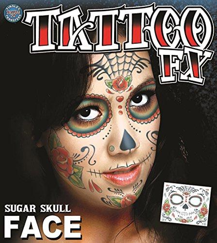 Epic Armoury MW-130038 Sugar Skull Temporary Face Tattoo-Transfer, Unisex-Erwachsene