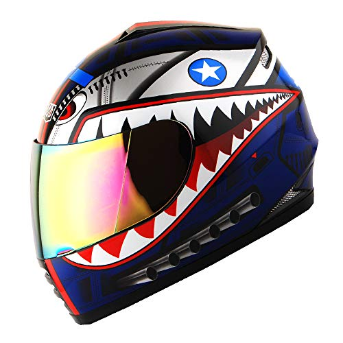 WOW Motorcycle Full Face Helmet Street Bike BMX MX Youth Kids Shark Blue