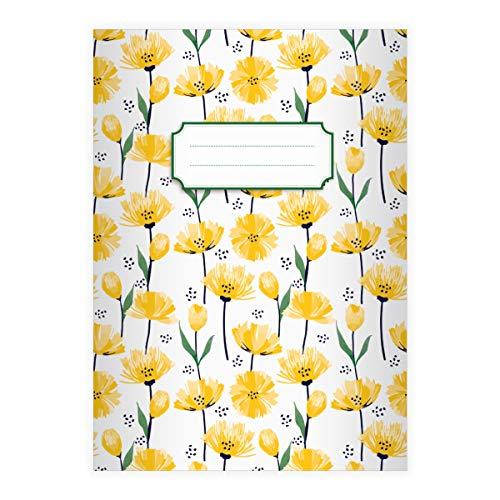 1 schönes Frühlings DIN A4 Schulheft, Schreibhefte mit Tulpen Meer, gelb Lineatur 20 (blanko Heft 16 Blatt/32 Seiten) Notizheft, Kladde für Schule, Universität, Büro