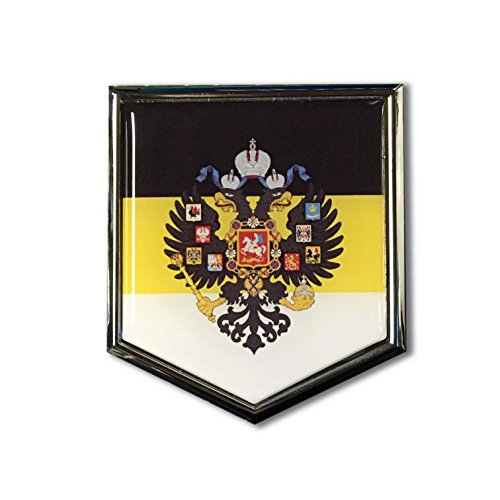 "Imperial Russia Flag Domed CHROME Emblem Proud Flag Car 3D Sticker 2""x 2.25"" Russia, Росси́я, Russian Empire, Россійская Имперія"