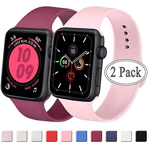 Amzpas Compatibel met Apple Horlogeband 38mm 42mm 40mm 44mm, Zachte Silicone Classic Sport Vervangende Bands voor iWatch Series 5/4/3/2/1, 38mm/40mm S/M, 07 Rode wijn+Roos
