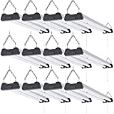 Sunco Lighting 12 Pack Industrial LED Shop Light, 4 FT, Linkable Integrated T8 Fixture, 40W=260W, 6000K Daylight Deluxe, 4000 LM, Surface + Suspension Mount, Pull Chain, Garage Light - Energy Star