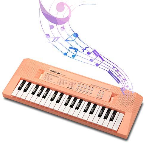 SAOCOOL Kids Piano, 37 Keys Multifunction Electronic Keyboard Piano Teaching Keyboard Gift for Children (Pink)