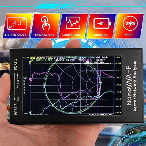 Vector Network Analyzer Hollee 50kHz-1000MHz 4.3 Inch Touchscreen HF VHF UHF VNA Antenna Analyzer Rechargeable 5000mAh Battery NanoVNA-F for Measuring S-Parameter Voltage SWR Phase Delay Smith Chart