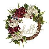 FAVOWREATH 2020 Handmade 18 inch Hello Lette Hydrangeawreath,American Flag Day,Gift Hook,Berrywreath,, Grapevine Wreath ,Spring, Autumn, winterwreath,Fireplace Wreath,Housewarming Wreath,