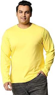 Bewakoof Men's Cotton Solid Plus Size Full Sleeves | Round Neck | Regular Fit T-Shirt/Tee