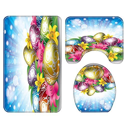Ostern-Duschvorhang-Matten-Satz, 1/3 / 4Pcs 3D bunter Ostern-Ball Druck-Duschvorhang-Matten-Badezimmer-niedrige Matten-Toiletten-Matten-Satz mit Haken