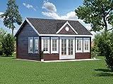 Alpholz Gartenhaus Clockhouse-XL aus Massiv-Holz | Gerätehaus mit 44 mm Wandstärke | Garten Holzhaus inklusive Montagematerial | Geräteschuppen Größe: 550 x 400 cm | Satteldach
