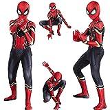 MODRYER Spider-Man Traje de los niños de Cosplay del Mono de superhéroes Bodies Elegante Traje de Halloween de la Mascarada del Partido del Mono, Iron Spider-Kids/XXL(140~150cm)