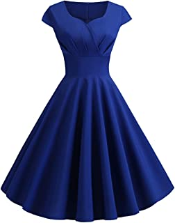 Wellwits Women's Cap Sleeves Pleated High Waist Solid 40s Vintage Dress
