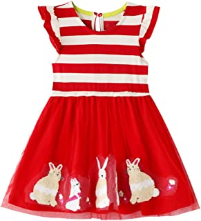 Girls' Tulle Dresses Short Sleeve Cotton Princess Dress Summer Casual Clothes