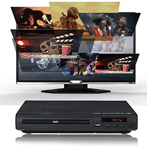 ZXCWE Reproductor De DVD HD 1080p, Reproductor De CD para TV con Salida Hdmi, para TV O Smart TV, Sin Región 1/2/3/4/5/6, Puertos Hdmi &RCA, Entrada USB