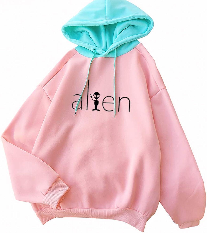 ZJSWCP Sweatshirt Harajuku Fleece Hoodies Loose Raglan Kawaii Cartoon ET Alien Women Sweatshirt Girls Casual Letter Print Sweater