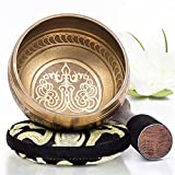 Tibetan Singing Bowl Set ~ Easy to Play with New Dual-End Striker & Cushion ~ Creates Beautiful Sound for Holistic Healing, Meditation & Relaxation ~ Peace Pattern ~ Gold Bowl with Black Pillow