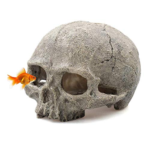Tfwadmx Aquarium Skull Decor, Resin Fish Tank Decorations Cave Betta Fish Hiedout Reptile House for...