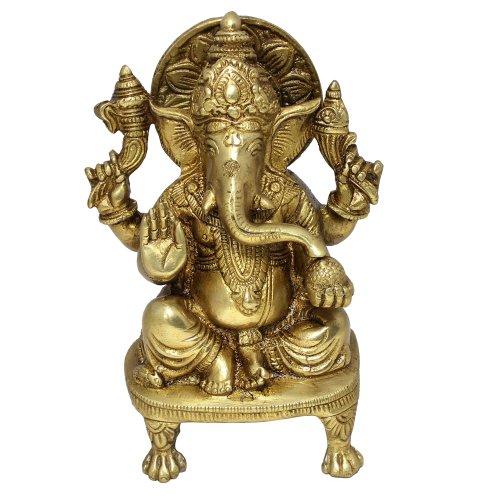 Hindu God Sculptures Sitting Statue of Ganesha Handmade Brass Figurine by RoyaltyRoute
