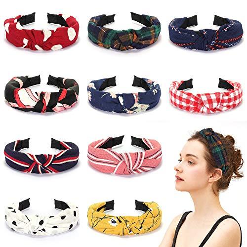 Winpok Haarreifen Damen,10 Stück Kopfband Stirnbänder Eelastische Haarband Turban Knoten Hairband Frauen Haarreifen Damen Sport Yoga Dusche Stirnband Haar Zubehör