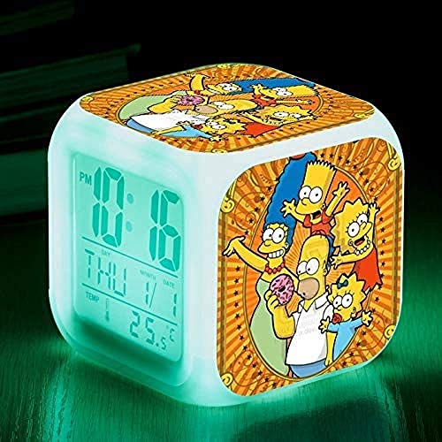 BZL POP Kleiner Wecker, Geburtstagsgeschenk Die Simpsons Colourful Color Ing-Change Wecker Kreative Geschenke für Kinder