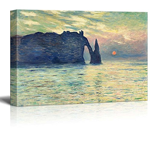 wall26 The Cliff, Etretat, Sunset by Claude Monet - Canvas Print Wall Art Famous