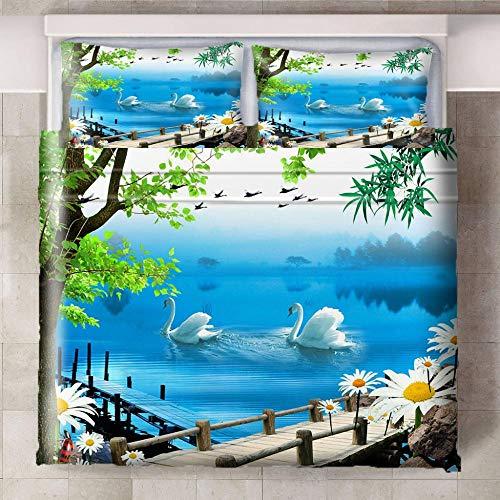 HYBWSO Funda de Edredón para 3D Azul Verde Flores Blancas Lago de los cisnes Juego de Cama 100% Poliéster Suave Transpirable Cierre de Cremallera 140cmx200cm 2 Fundas De Almohada