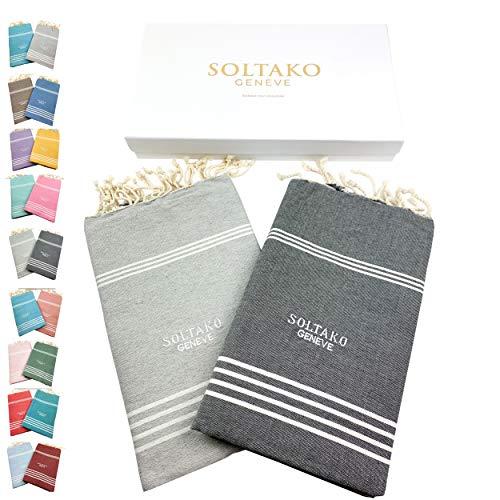 SOLTAKO 2 toallas de playa Fouta XXL para sauna, baño, yoga, pestemal, en color gris plateado y antracita, tamaño extra grande, 100 x 200 cm