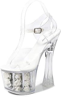 Womens Transparent Crystal Wedding Sandals,PeepToe Rose Ultra High Heels,Fish-Billed BlockHeelBucklePromPartyShoes,White,35 EU
