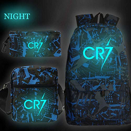 Cristiano Ronaldo CR7 Leuchtende 3er / Set Schultaschen für Teenager Schüler Laptop Rucksack Lässige Reisetaschen Jungen Schultasche 8 Nur Stifttasche