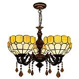 Lámparas colgantes mediterráneas, lámpara colgante de estilo Tiffany con vidrieras de 25 pulgadas de ancho, 5 luces, candelabros para dormitorio, isla de cocina, entrada, comedor, Pasillo,Yellow