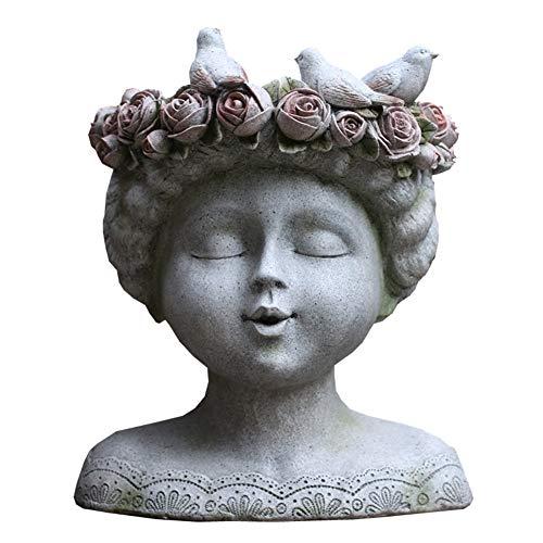 SDBRKYH Garten Kreative Blumentöpfe, Gartenverzierungen der Göttin Kopf Planter Statuen großer Durchmesser Blumentöpfe Rasen Außendekoration