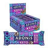 Adonis Barras de proteína Keto | Barritas crujientes de chocolate y avellanas | 100% Natural Nut Snacks, bajo en carbohidratos, alto en proteínas, vegano, bajo en azúcar - Caja de 16