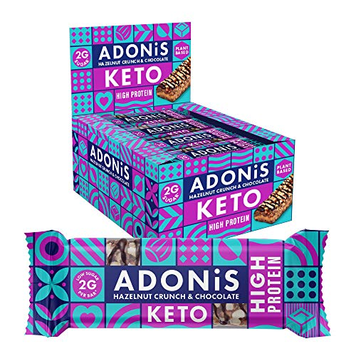 Adonis Keto Protein Riegel | Haselnuss Crunch & Schokolade Snack Riegel | 100{b802ecf7759e90f341146c350a0fc5f03f80c2da62997cdcae09fe9f74074b81} Natürliche Nuss Snacks, Low Carb, Vegan, Low Sugar Bars (Box of 16)
